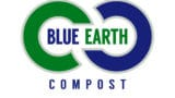Blue Earth Compost logo. A green and blue infinity sign with the text Blue Earth in the middle and the text compost underneath.